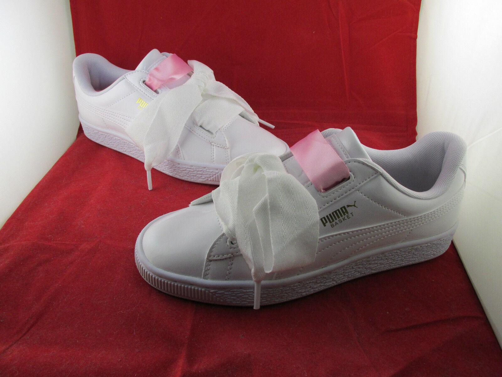 Puma Basket Heart Patent Jr White 3 4 5 6 All Sizes SportsLocker 364817-02