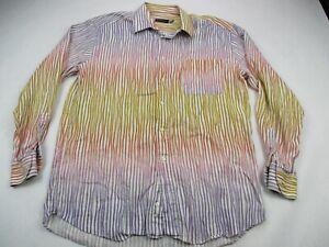 Mens-Multi-color-Stripes-Saint-Croix-Shirt-Button-Front-Italy-Dress-Plaid-Large