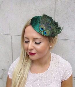 Image is loading Emerald-Green-Peacock-Feather-Fascinator-Hair-Clip-1940s- 070c9edf699