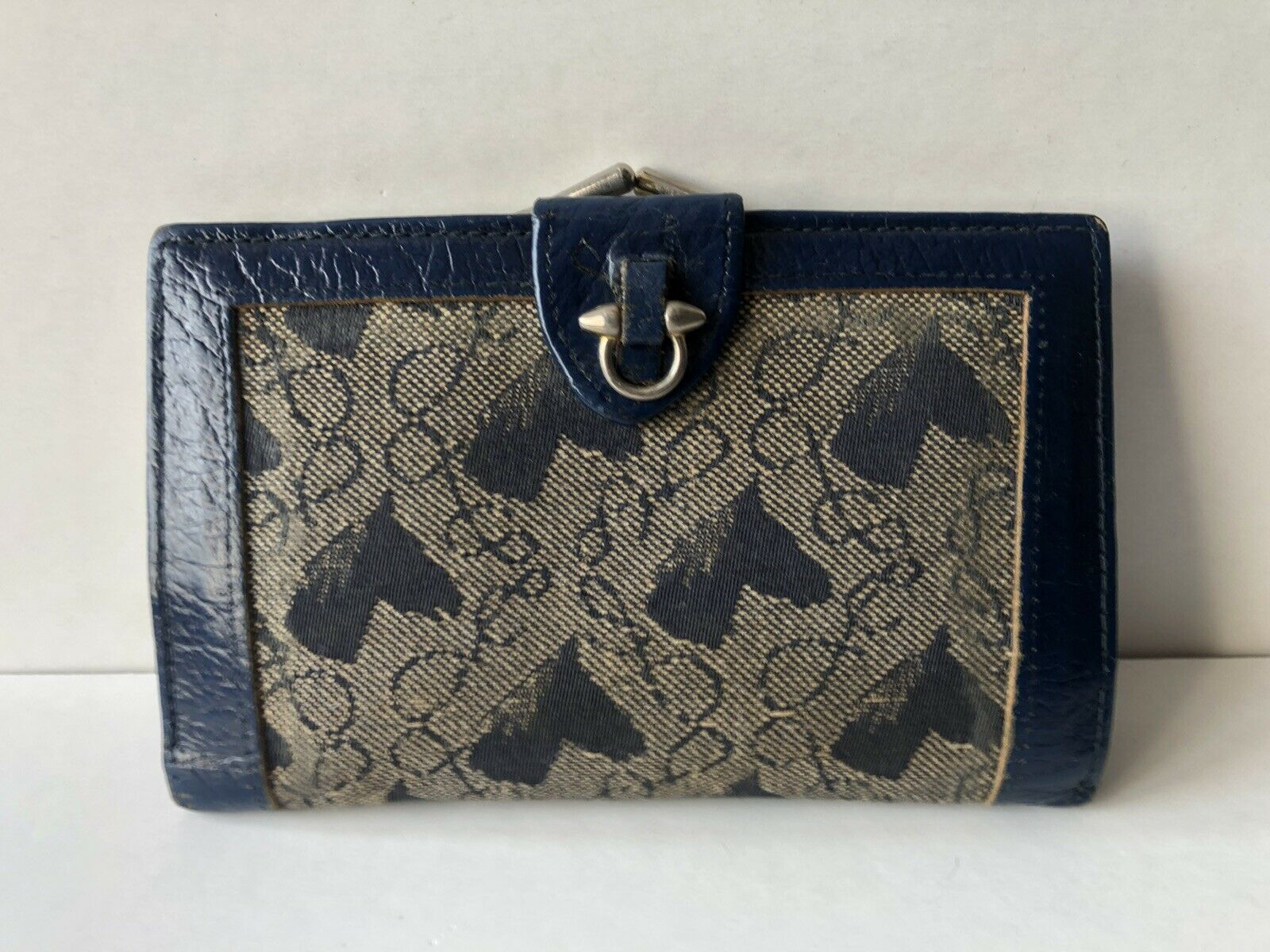 Vintage Retro Blue Real Brown Leather Clasp Bifold Purse Horses Kitsch