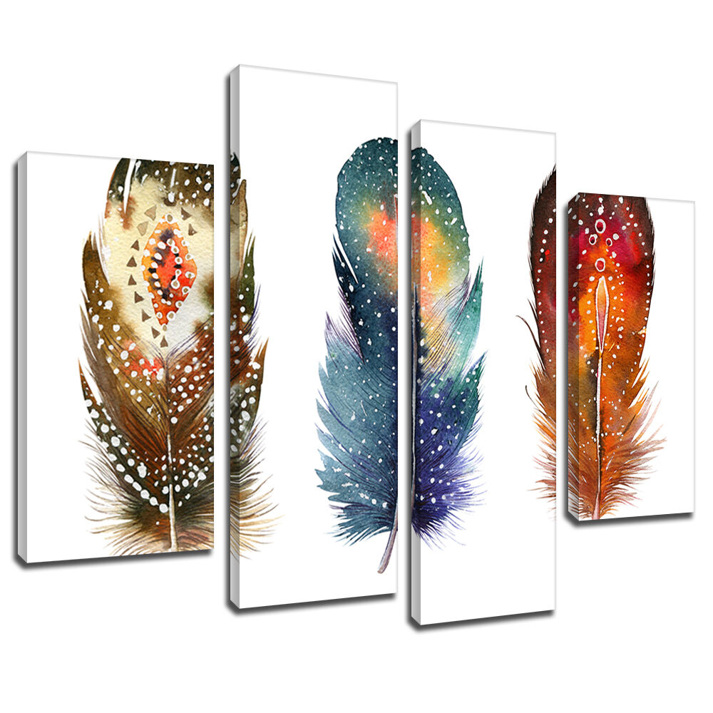 MA637 braun Blau rot Bird Feathers Canvas Wall Art Multi Frame Picture Print
