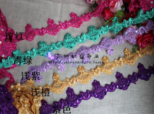 mariage//Mariage F11 bordure en dentelle perles séquence vendu par 1 Yd environ 0.91 m largeur 5.8 cm