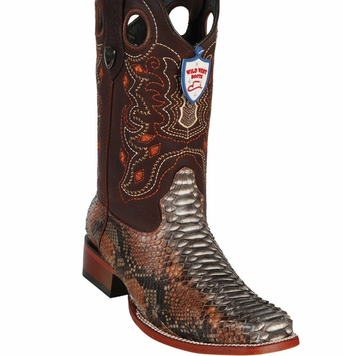 Men's Wild West Genuine Python Square Toe Boots Handcrafted