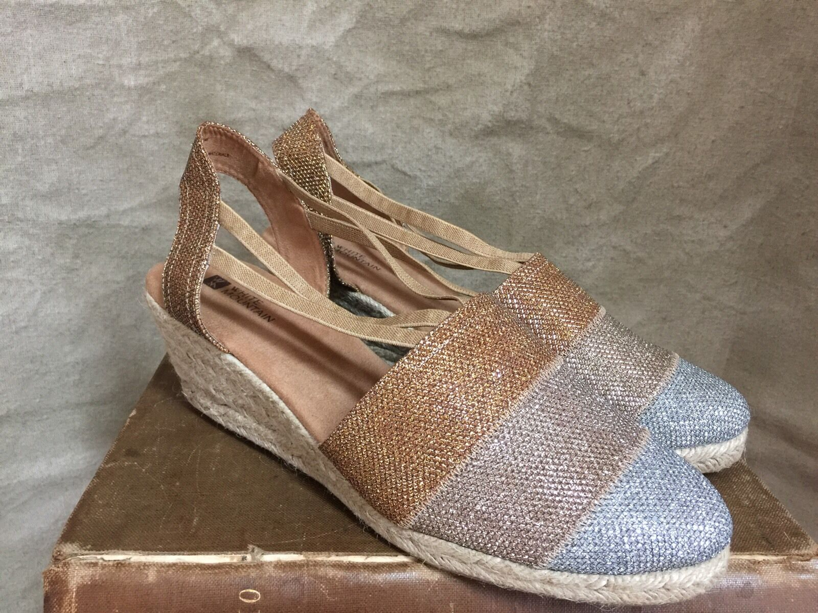 Womens Womens Womens SPARKLE ESPADRILLES Wedge White Mountain Silver gold Copper 11 Slip-On f20ad2