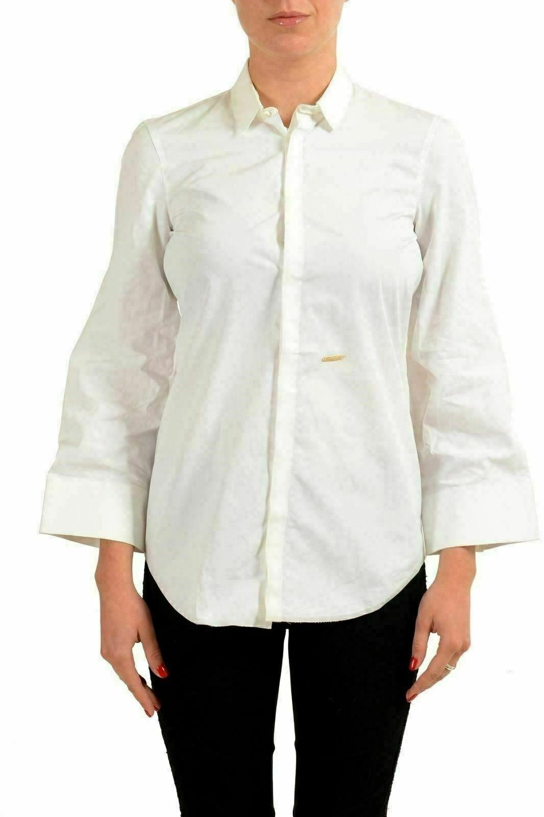 Dsquared2 White 3 4 Sleeve Women'S Button Down Shirt US S IT 40
