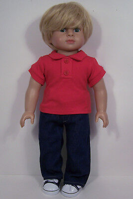 RED Shirt BLACK Corduroy Pants Clothes For 18 American Girl Boy Logan Doll Debs