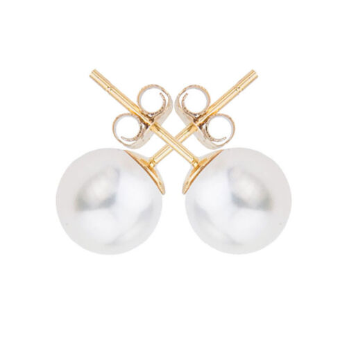 14k Yellow Gold 7mm AAA Quality Freshwater Cultured Pearl Stud Earrings