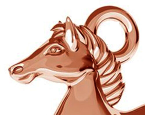 1 STERLING SILVER HORSE CHARM 14 X 12 MM PENDANT WITH RING ROSE GOLD PLATED