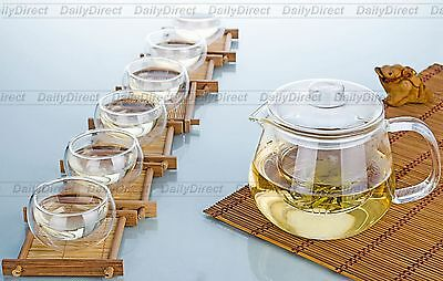 7in1 Tea Set -16.9 fl.oz 500ml Heat-Resisting Glass Tea Pot w/ infuser + 6* Cups