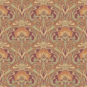 Retro Damask Floral Wallpaper Vintage Flora Nouveau Metallic Gold