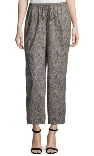 Eileen Fisher Pebble Droplet Printed Drawstring Wide Leg Ankle Pants S M