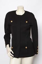 CHANEL Black Wool Vintage Military Jacket Coat Sz 36 US 4 *MINT