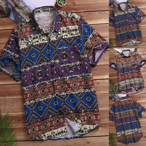 New-Mens-Casual-Vintage-Floral-Printing-Button-Down-Colorful-Holiday-Shirts-Tops