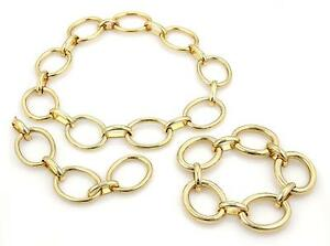 Vintage-18k-Yellow-Gold-Larage-Oval-Ring-Links-Necklace-amp-Bracelet-Set-323-Grams