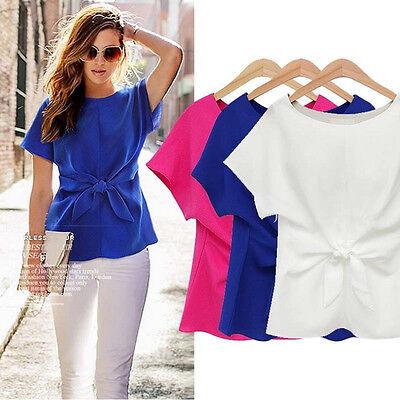 New Women Casual Chiffon Blouse Short Sleeve Shirt T-shirt Summer Blouse Tops