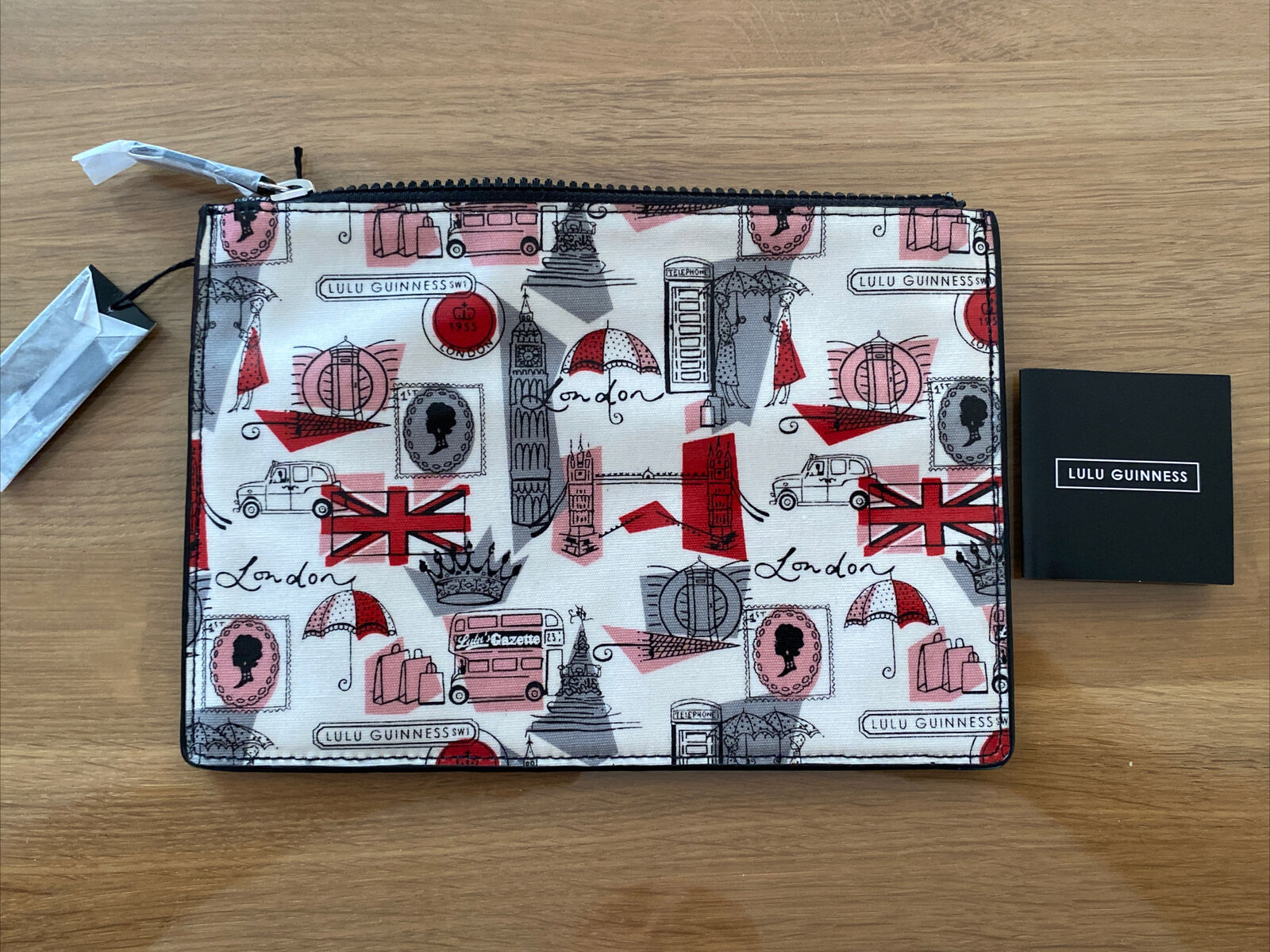 Lulu Guinness 'London Print' Laminate Pouch Bag - New Sealed With Tags - Medium
