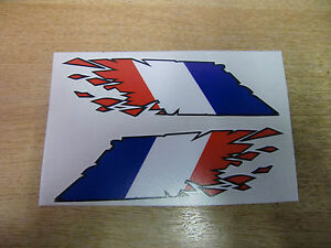 """French / France Flag """"ripped"""" style stickers - 300mm decals x2 LARGE"""