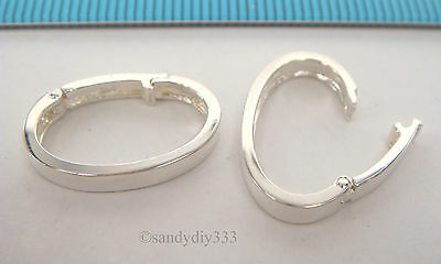 1x BRIGHT STERLING SILVER CHANGEABLE PENDANT CLASP BAIL SLIDE Donut Holder #2205