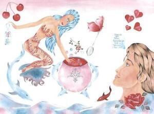 MERMAID MERMAN RED ROSES BEACH OCEAN CAULDRON LOVE POTION CHERRY HEART PAINTING