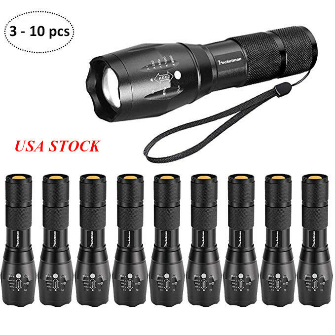 T6 Tactical LED Flashlight 18650 Mini  Zoomable 5 Modes LED Torch Light