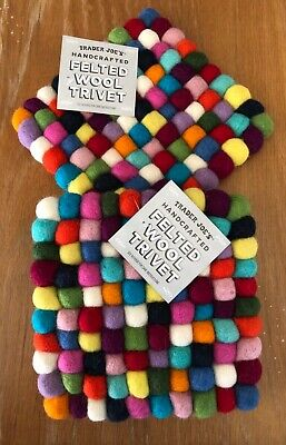 *TWO* LIMITED EDITION NEW TRADER JOE/'S HANDMADE FELTED WOOL TRIVET MADE IN NEPAL