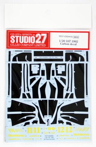 Studio27 ST27-CD20041 Lotus 107 1992 Carbon Decal for Tamiya 1//20