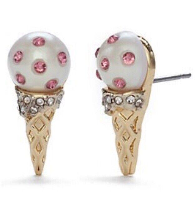 NWT Kate Spade CARNIVAL NIGHTS ICE CREAM 12-K Gold Plated Stud Earrings