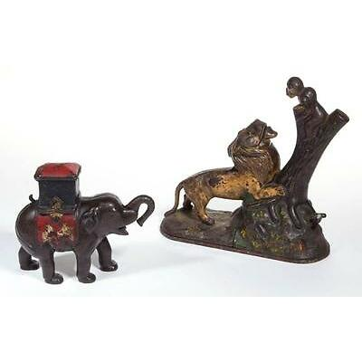 1010. ELEPHANT WITH HOWDAH CAST-IRON MECHANICAL BANK Lot 1010