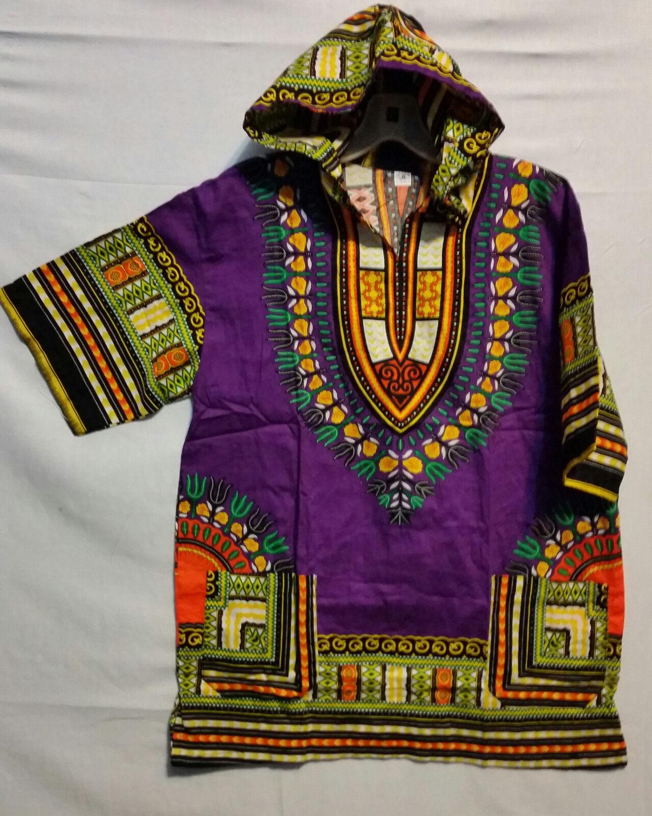 Men Women African Dashiki Hoodie Top W/ Hood Traditional Purple Yellow S M L