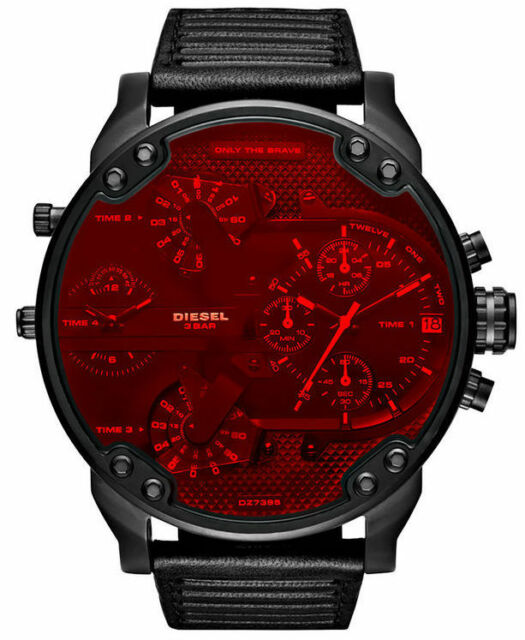NEW Diesel DZ7402 Mr Daddy 2.0 Black Leather Strap Red Dial Chronograph Watch