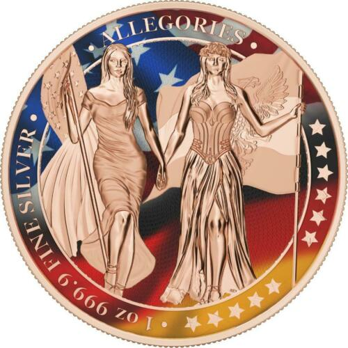 """Germania 2019 5 Mark The Allegories /""""Germania /& Columbia FLAGS/"""" 1 Oz Silver Coin"""