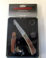 Winchester 3 Piece Gift Set Tin Pocket Knife, Multi Tool, Medallion Keychain