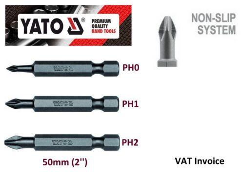 "Yato professionnel antidérapante 50mm bits philips PH0 PH1 PH2 YT-7846-8 2/"""