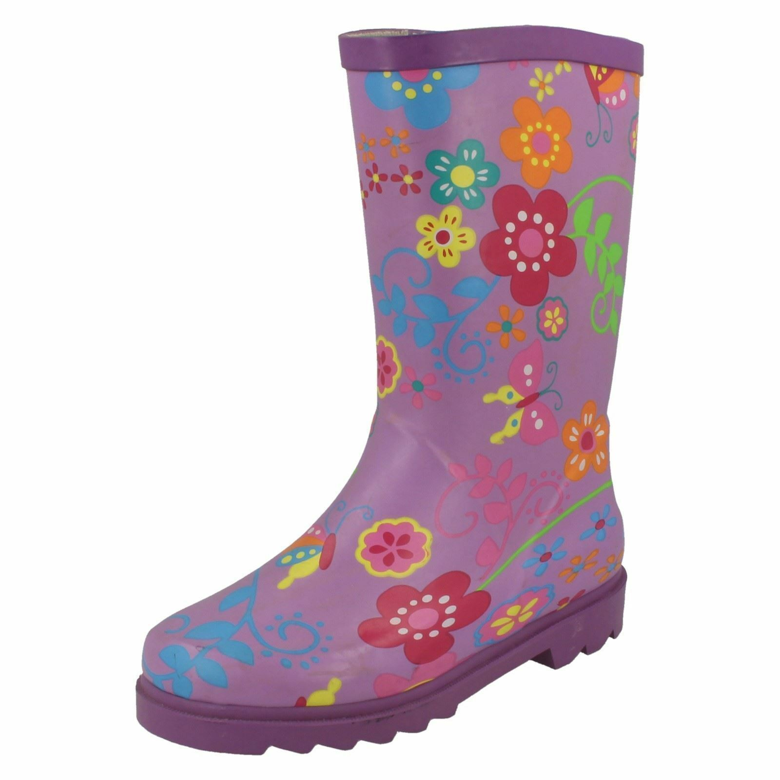 Childrens Funky Rubber Purple Floral Print Wellies - X1062 LB4