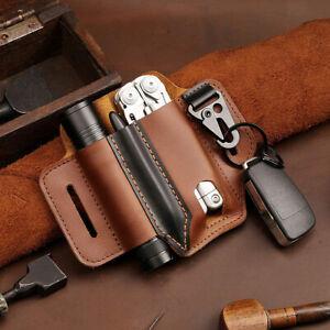 Genuine Leather Multitool Flashlight Sheath Belt EDC Pocket Pen Key Organizer