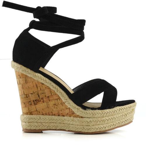 Womens Platform Wedge Espadrilles Lace Tie Up Sandals Ladies Summer Shoes