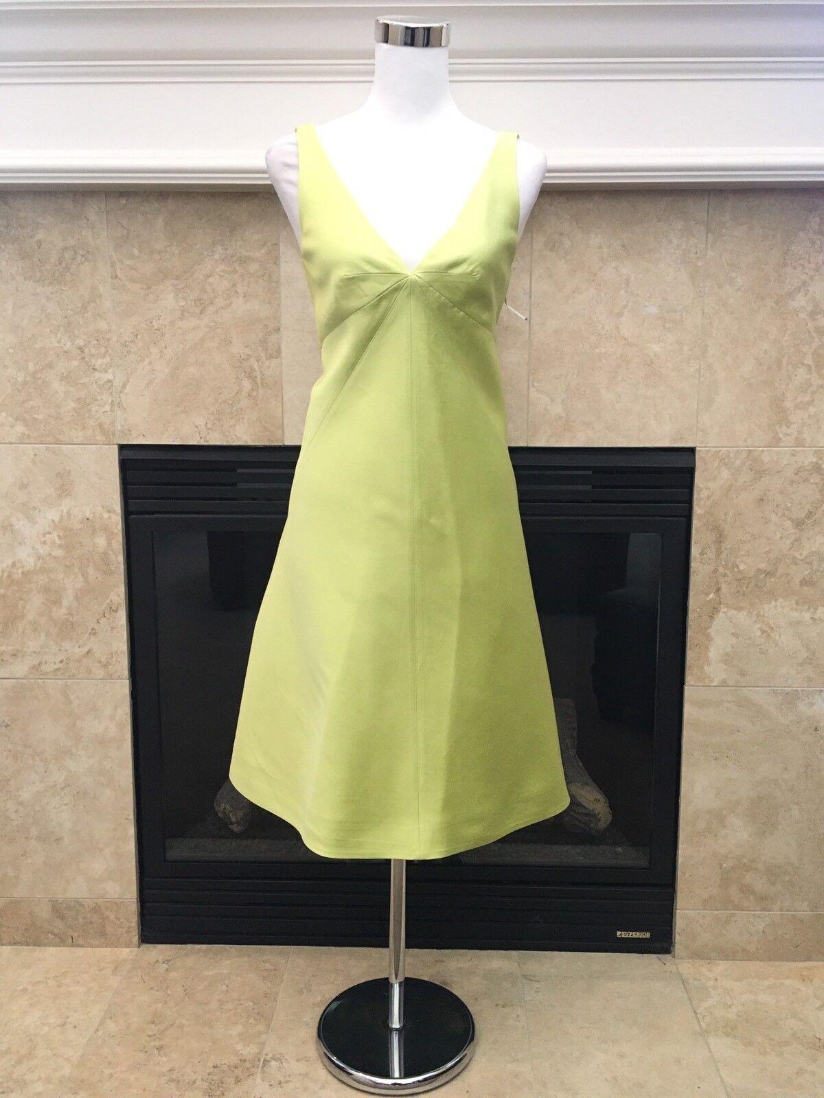 J. Crew vionette french silk twill dress in key key key lime green 6 NWT  275 4ffd61