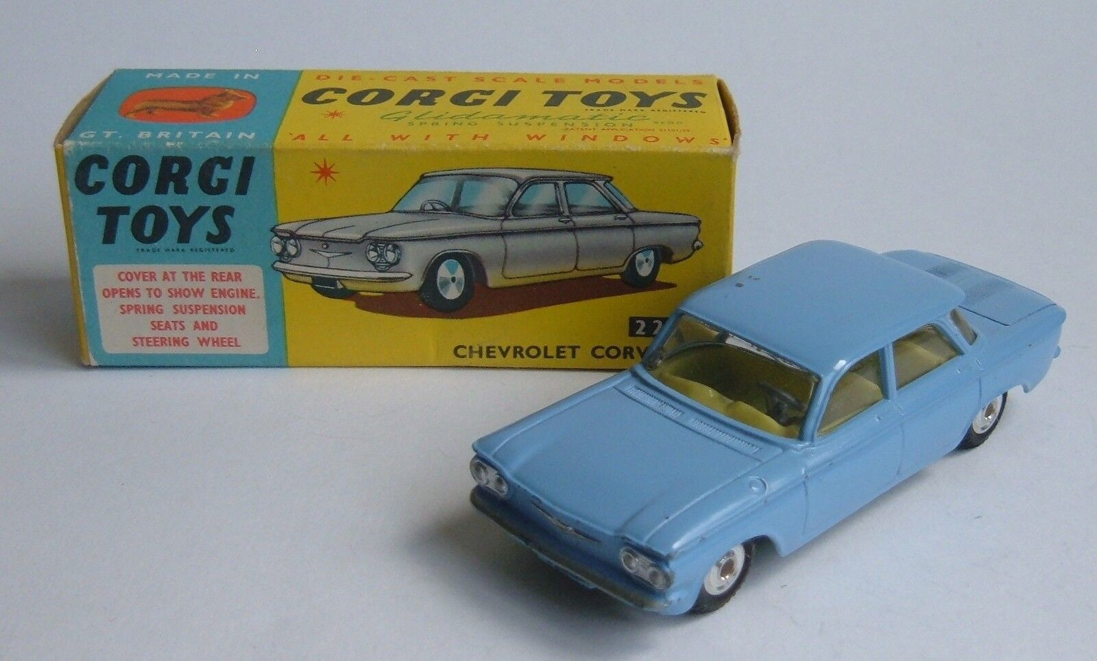 Corgi Toys No. 229, Chevrolet Corvair, - Superb