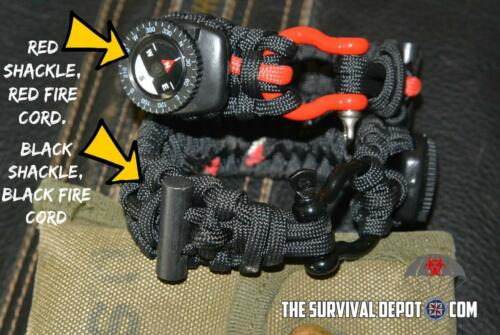EDC Firestarter 550 Paracord Survival Bracelet  Flint Compass Firecord Shackle