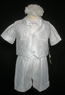 New Baby Boy Christening Baptism Gown Outfit size XS S M L XL 0M to 24M White