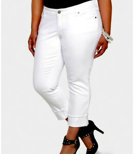TORRID Boyfriend Crop JEANS Plus Size 20 2X WHITE Denim Stretch ...