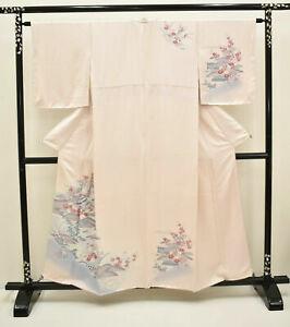 Vintage Japanese Blush Pink 'Cranes & Plum Blossom' Tsukesage/Kimono/Robe Small