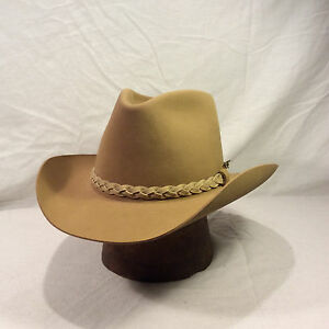 77c27142bcffb Tan Resistol Roundup Collection Men s Hat with Light Tan Leather ...