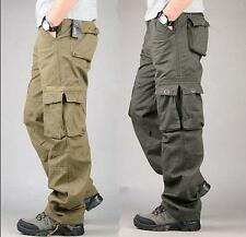 Mens Overalls Loose Straight Cargo Pants Military Outdoor Trousers Army Green 32