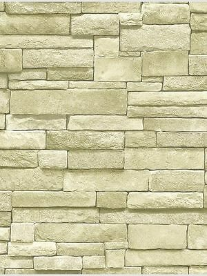 3-D Rectangular Stacked Stone in Off White Wallpaper SR026199 Lot  211436A