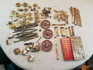 Vintage-Antiguo-Meccano-Erector-Set-patente-1911-piezas-de-laton-de-estano-y-hierro
