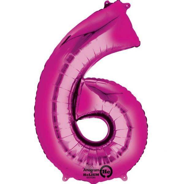 Numéro 6 Rose 88cm Géant Aluminium Chiffre Anniversaire Ballons à L'Hélium Date