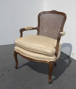 Image Is Loading Vintage French Provincial Cane ARM CHAIR W DOWN