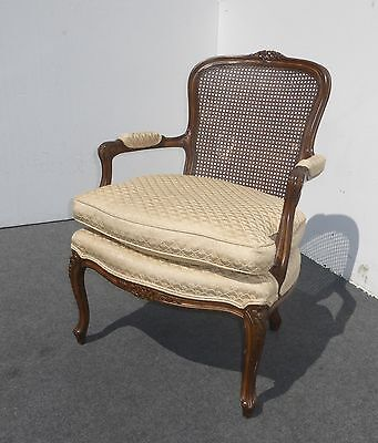 Vintage French Provincial Cane ARM CHAIR w DOWN CUSHION Cabriole Legs