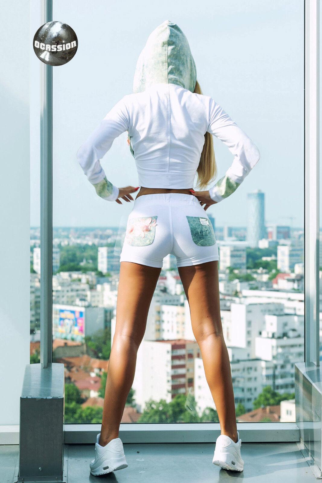 Ocassion 2-Teiler Hoddie Jacke Bauchfrei Hotpants Hotpants Hotpants Fitnessanzug Sportset 32-38 2c7898